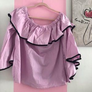 Plus Size Lavender Off Shoulder Ruffle Blouse